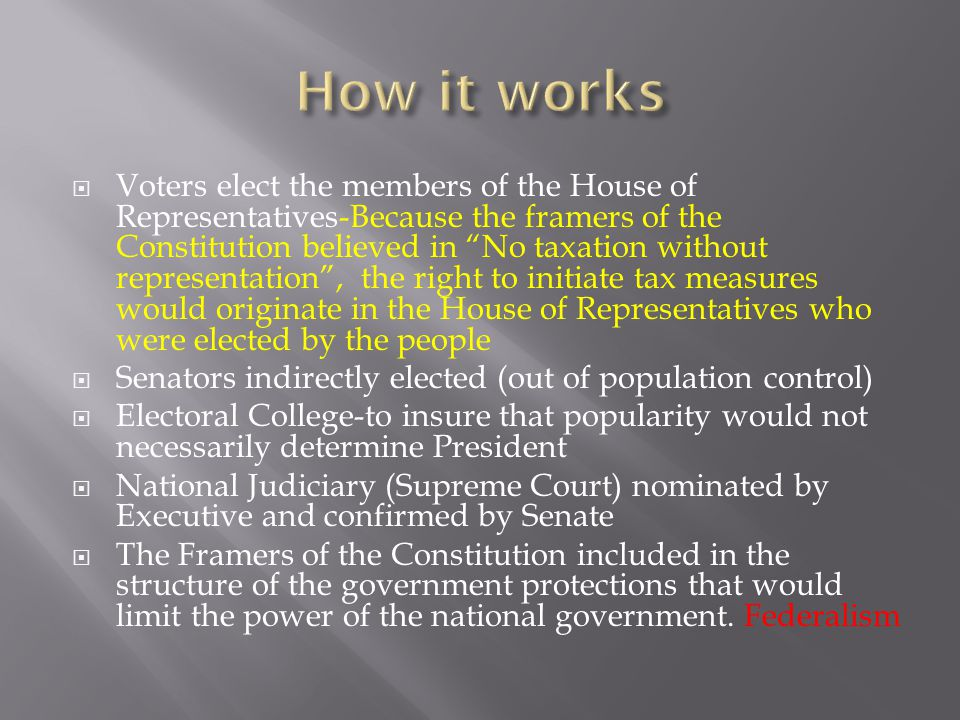  Voters elect the members of the House of Representatives-Because the framers of the Constitution believed in No taxation without representation , the right to initiate tax measures would originate in the House of Representatives who were elected by the people  Senators indirectly elected (out of population control)  Electoral College-to insure that popularity would not necessarily determine President  National Judiciary (Supreme Court) nominated by Executive and confirmed by Senate  The Framers of the Constitution included in the structure of the government protections that would limit the power of the national government.