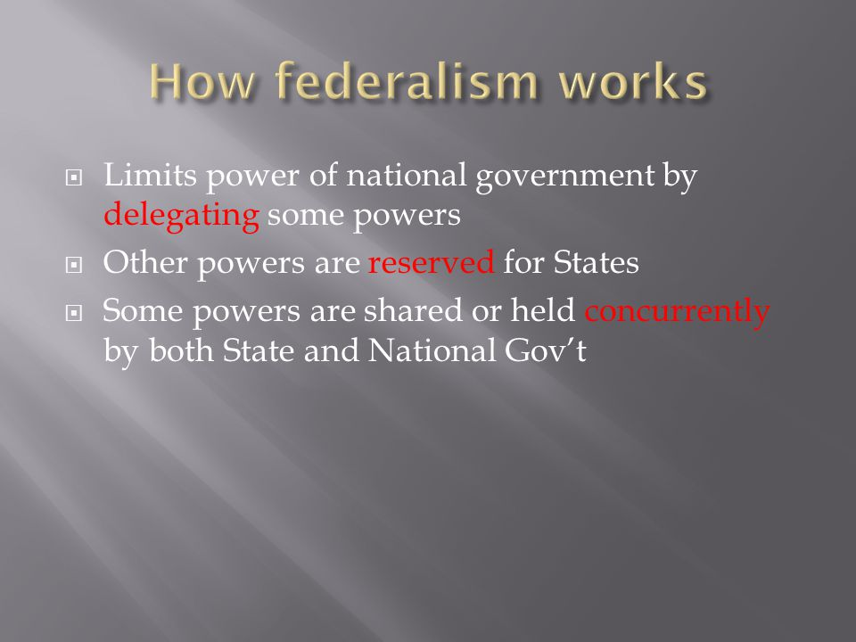  Limits power of national government by delegating some powers  Other powers are reserved for States  Some powers are shared or held concurrently b