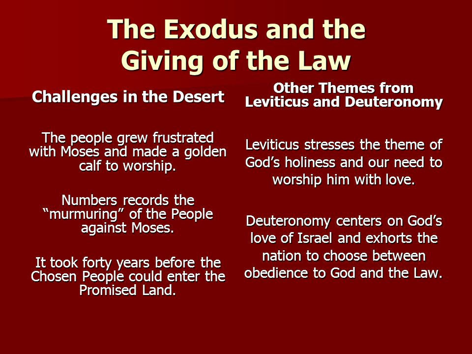 The Exodus and the Giving of the Law Challenges in the Desert The people grew frustrated with Moses and made a golden calf to worship. Numbers records