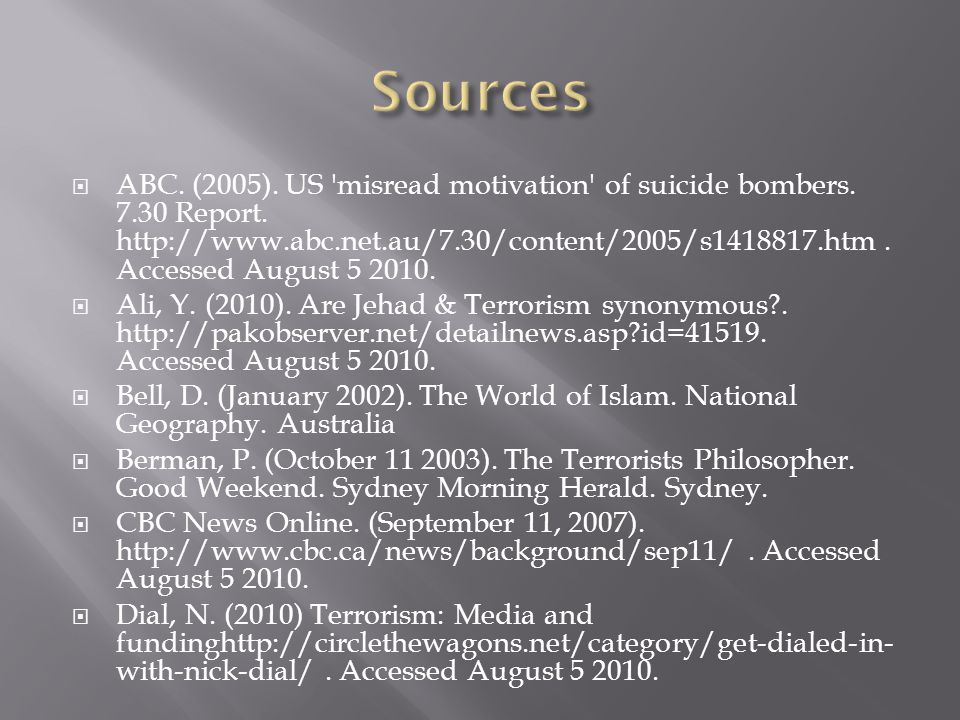  ABC. (2005). US misread motivation of suicide bombers.