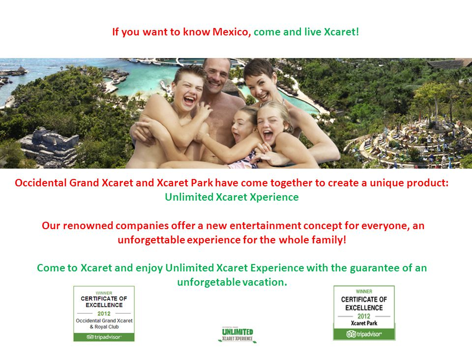 If you want to know Mexico, come and live Xcaret! Occidental Grand Xcaret and Xcaret Park have come together to create a unique product: Unlimited Xca