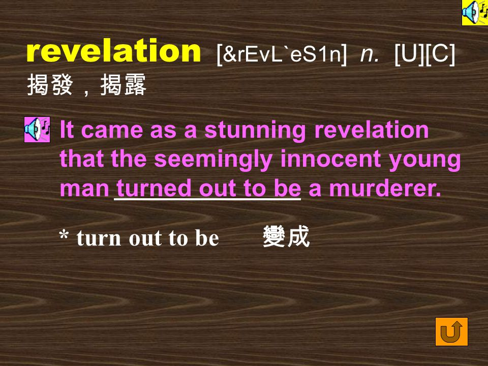 Words for Production 23. reveal [ rI`vil ] vt. to allow to be seen or known 展現, 顯現 Further digging revealed the sealed doorway of King Tut's tomb, fil