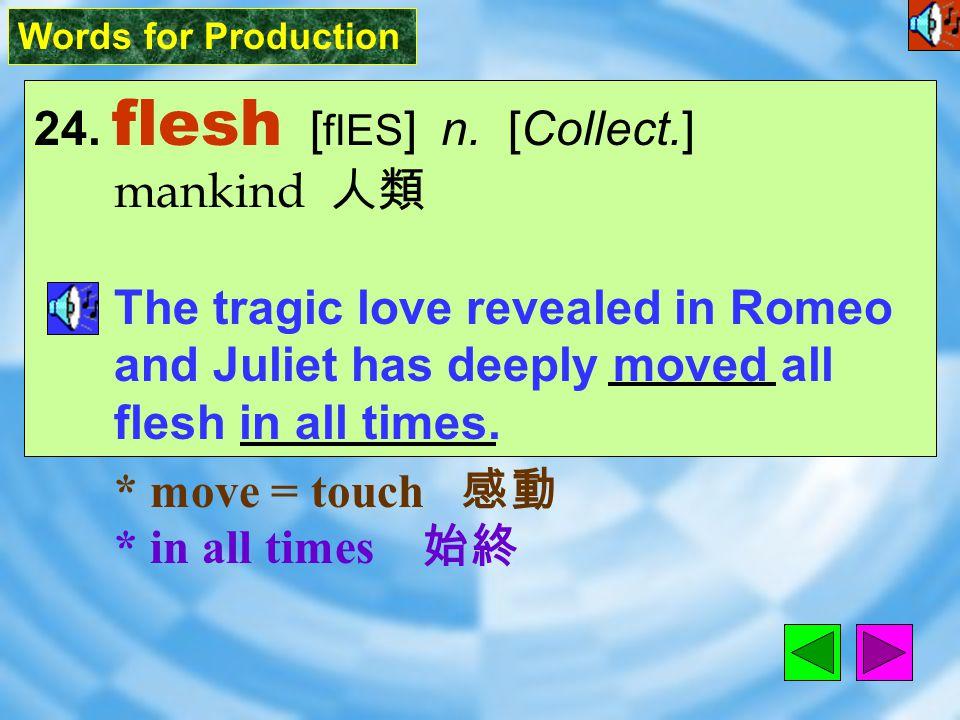 Words for Production 24.flesh [ flES ] n.