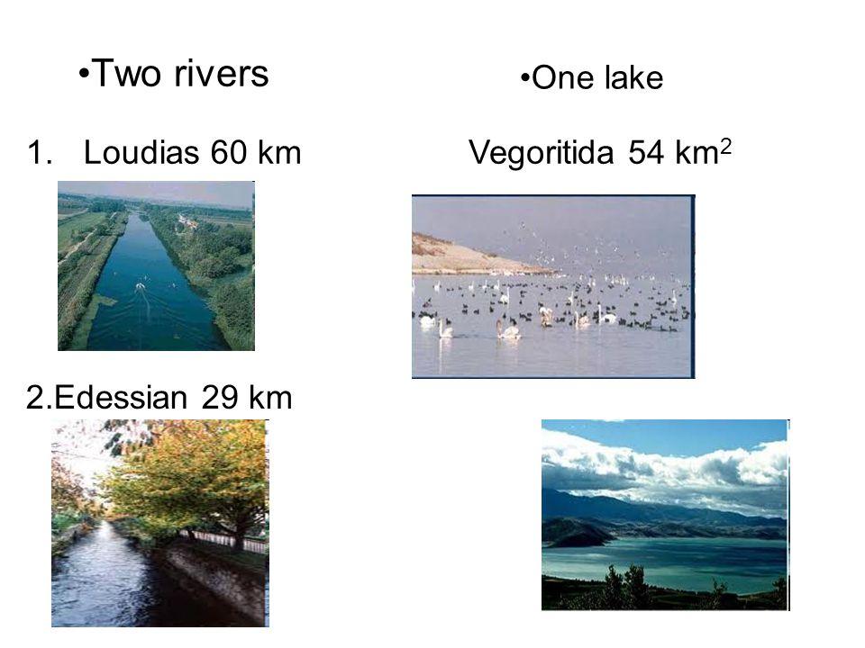 Two rivers 1.Loudias 60 km 2.Edessian 29 km One lake Vegoritida 54 km 2