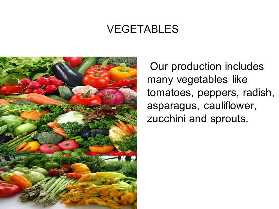 VEGETABLES Our production includes many vegetables like tomatoes, peppers, radish, asparagus, cauliflower, zucchini and sprouts.