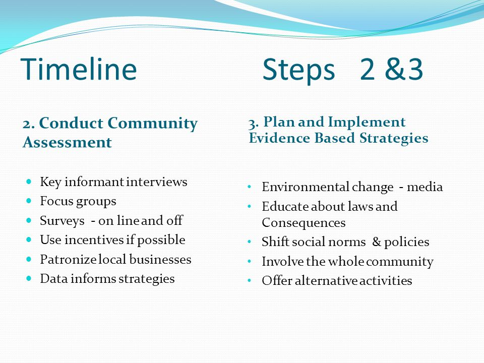 Timeline Steps2 &3 2. Conduct Community Assessment 3.