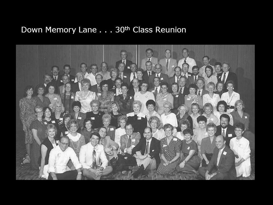 Down Memory Lane... 30 th Class Reunion