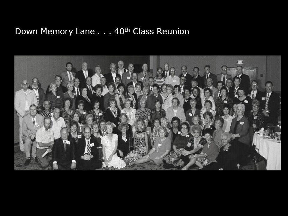 Down Memory Lane... 40 th Class Reunion