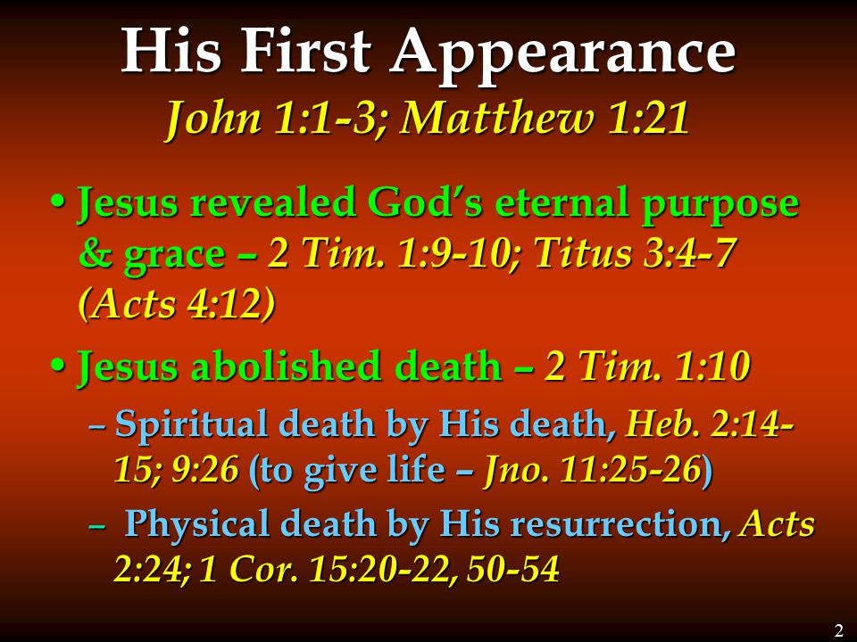 His First Appearance John 1:1-3; Matthew 1:21 Jesus revealed God's eternal purpose & grace – 2 Tim. 1:9-10; Titus 3:4-7 (Acts 4:12) Jesus revealed God