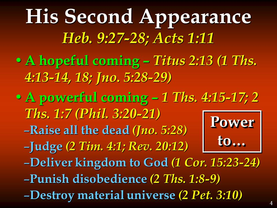 His Second Appearance Heb. 9:27-28; Acts 1:11 A hopeful coming – Titus 2:13 (1 Ths.