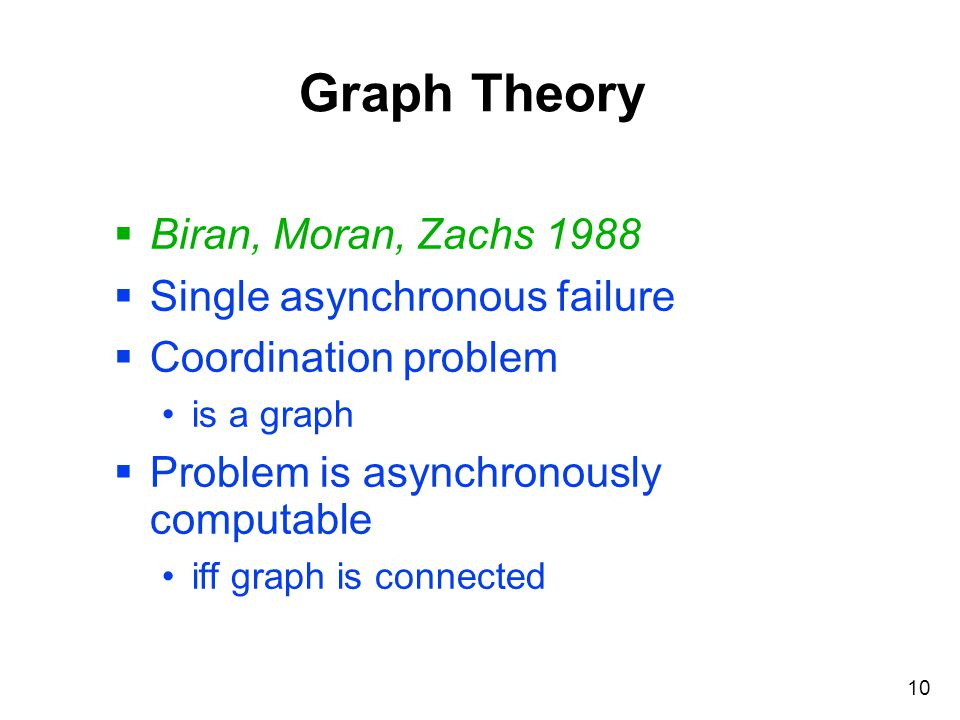 10 Graph Theory  Biran, Moran, Zachs 1988  Single asynchronous failure  Coordination problem is a graph  Problem is asynchronously computable iff