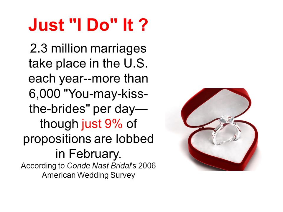 Just I Do It . 2.3 million marriages take place in the U.S.
