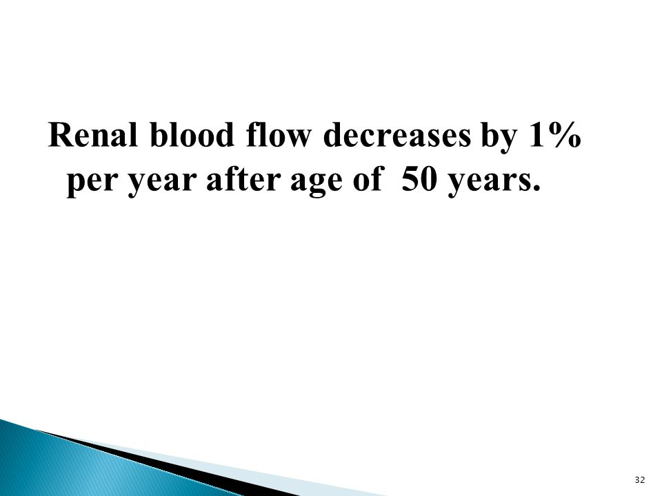 Renal blood flow decreases by 1% per year after age of 50 years. 32