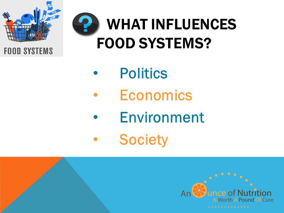 WHAT INFLUENCES FOOD SYSTEMS Politics Economics Environment Society