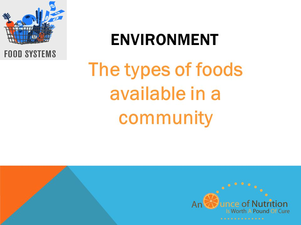 ENVIRONMENT The types of foods available in a community