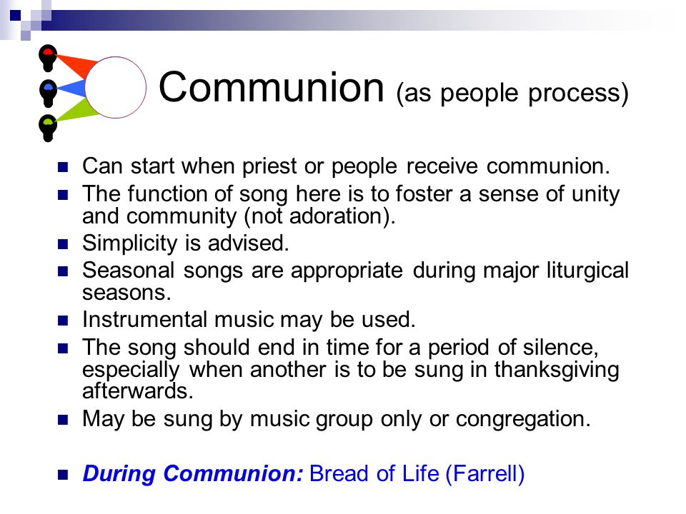 Communion (as people process) Can start when priest or people receive communion.