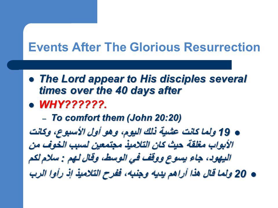 Events After The Glorious Resurrection The Lord appear to His disciples several times over the 40 days after WHY??????.