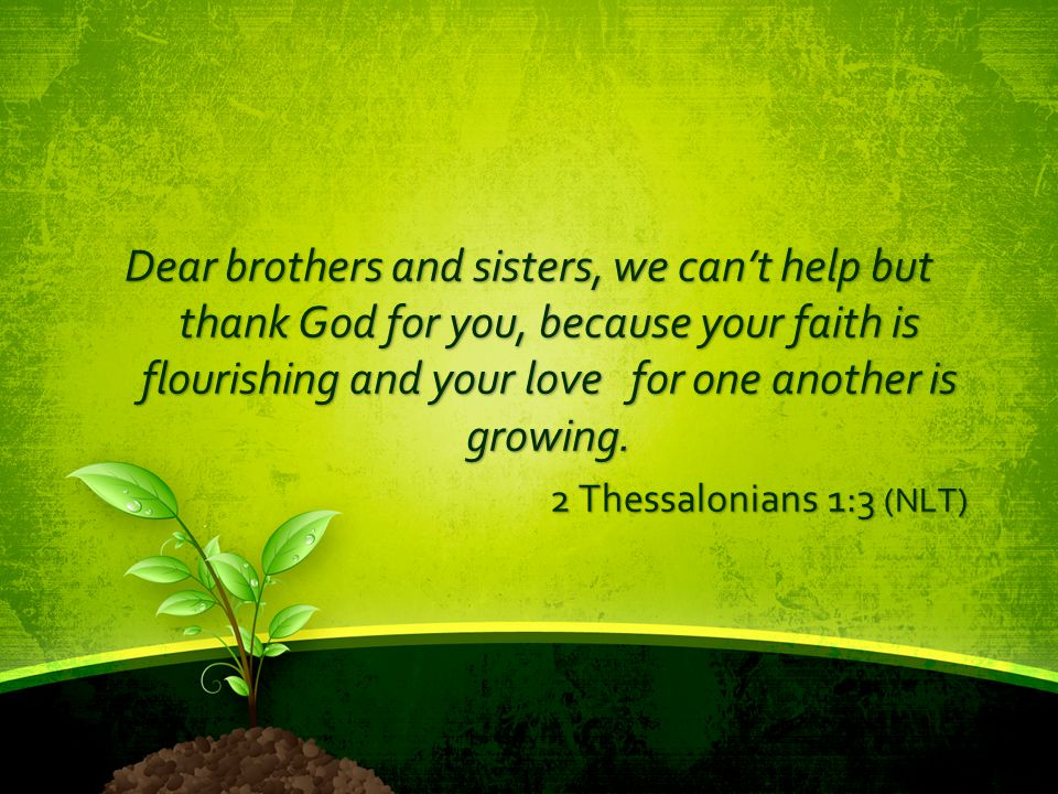 Dear brothers and sisters, we can't help but thank God for you, because your faith is flourishing and your love for one another is growing. 2 Thessalo