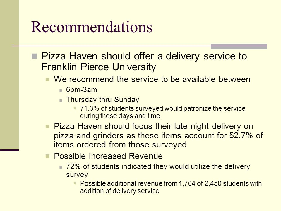 Recommendations Pizza Haven should offer a delivery service to Franklin Pierce University We recommend the service to be available between 6pm-3am Thursday thru Sunday  71.3% of students surveyed would patronize the service during these days and time Pizza Haven should focus their late-night delivery on pizza and grinders as these items account for 52.7% of items ordered from those surveyed Possible Increased Revenue 72% of students indicated they would utilize the delivery survey  Possible additional revenue from 1,764 of 2,450 students with addition of delivery service