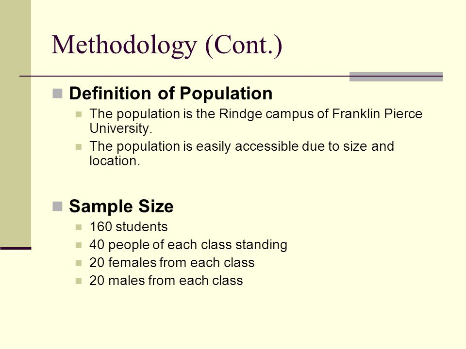 Methodology (Cont.) Definition of Population The population is the Rindge campus of Franklin Pierce University.
