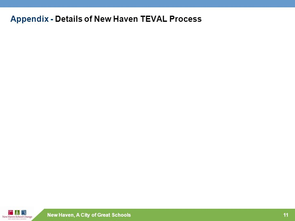 New Haven, A City of Great Schools Appendix - Details of New Haven TEVAL Process 11