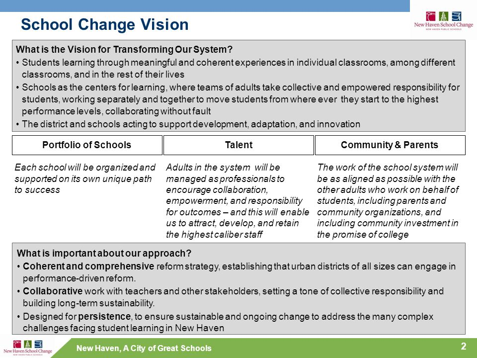 New Haven, A City of Great Schools School Change Vision 2 What is the Vision for Transforming Our System.