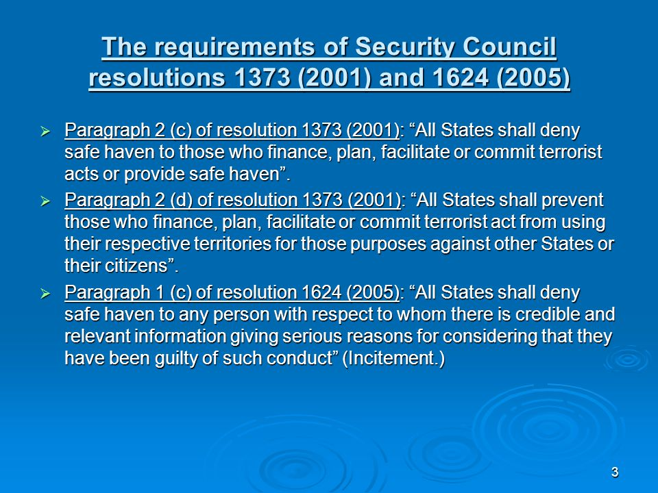 3 The requirements of Security Council resolutions 1373 (2001) and 1624 (2005)  Paragraph 2 (c) of resolution 1373 (2001): All States shall deny safe haven to those who finance, plan, facilitate or commit terrorist acts or provide safe haven .