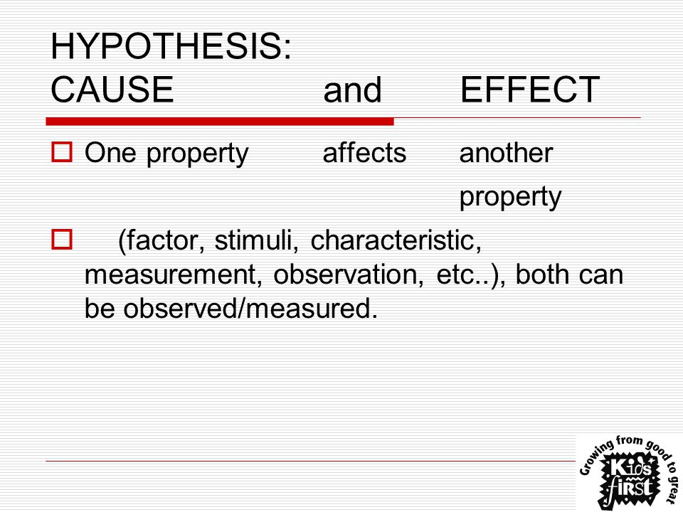 HYPOTHESIS: CAUSEandEFFECT  One propertyaffectsanother property  (factor, stimuli, characteristic, measurement, observation, etc..), both can be observed/measured.
