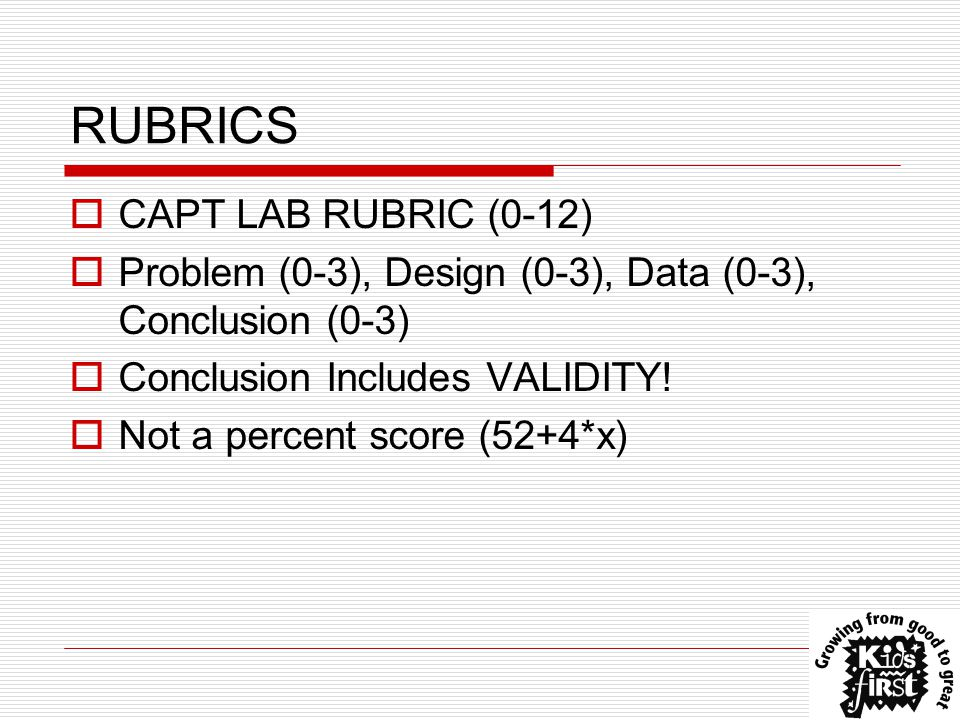 RUBRICS  CAPT LAB RUBRIC (0-12)  Problem (0-3), Design (0-3), Data (0-3), Conclusion (0-3)  Conclusion Includes VALIDITY.