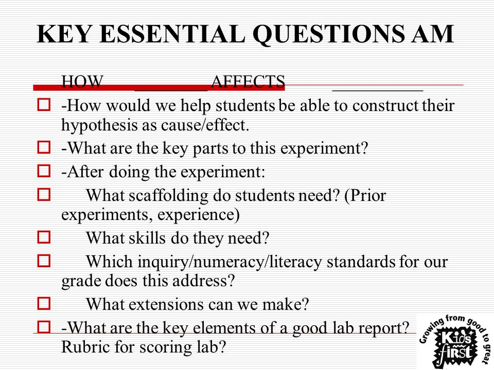 KEY ESSENTIAL QUESTIONS AM HOW________ AFFECTS__________  -How would we help students be able to construct their hypothesis as cause/effect.