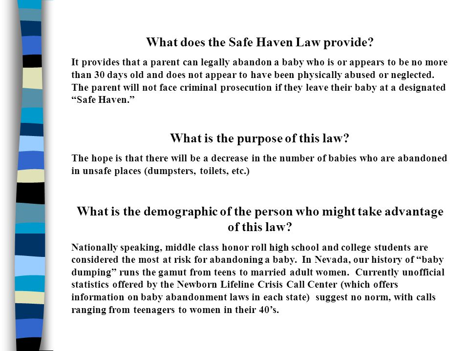 When was the Safe Haven law passed.