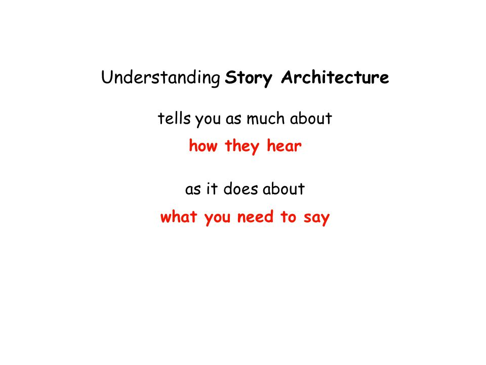 Understanding Story Architecture tells you as much about how they hear as it does about what you need to say