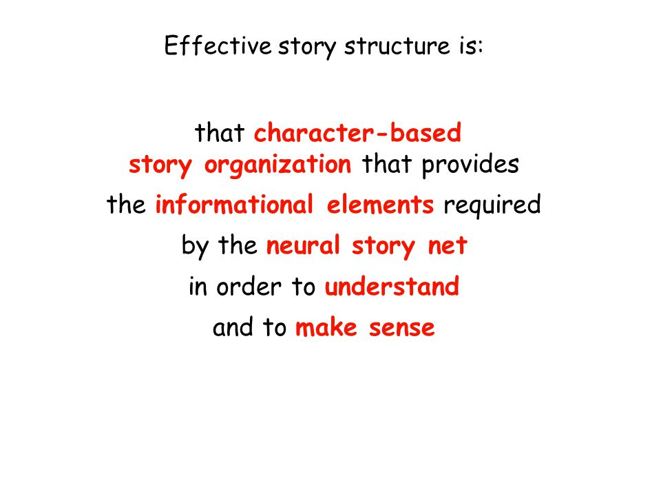 Effective story structure is: that character-based story organization that provides the informational elements required by the neural story net in order to understand and to make sense