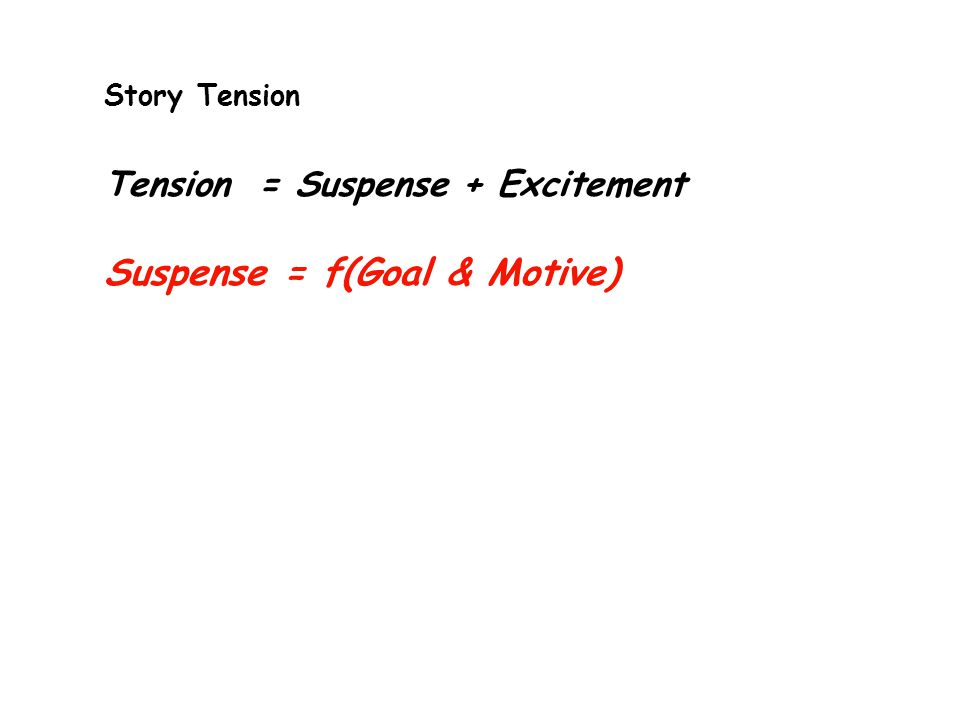Story Tension Tension = Suspense + Excitement Suspense = f(Goal & Motive)
