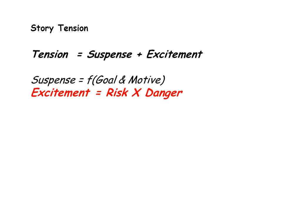 Story Tension Tension = Suspense + Excitement Suspense = f(Goal & Motive) Excitement = Risk X Danger
