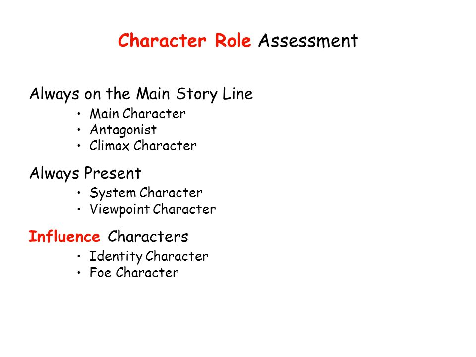 Character Role Assessment Always on the Main Story Line Main Character Antagonist Climax Character Always Present System Character Viewpoint Character Influence Characters Identity Character Foe Character