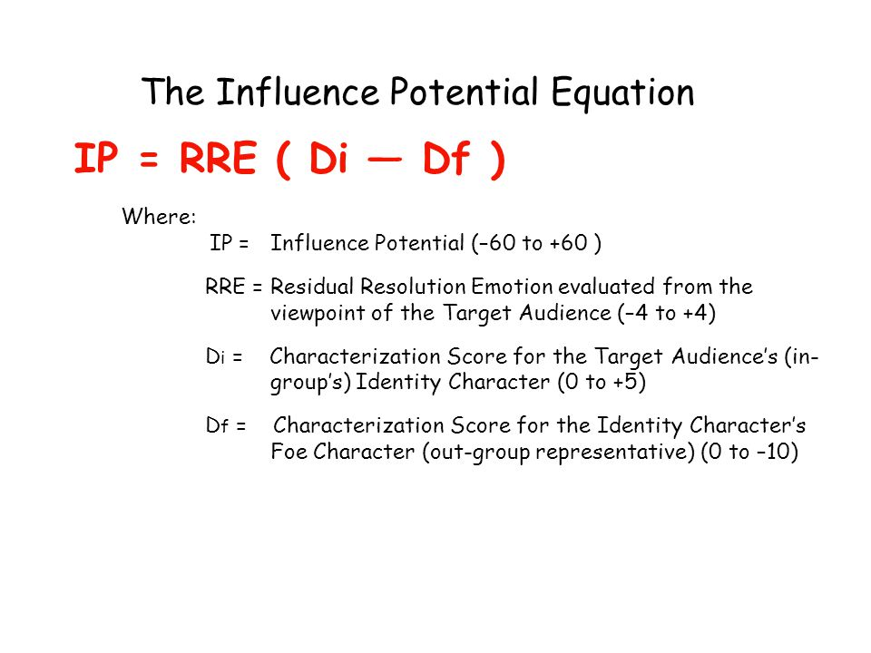 The Influence Potential Equation IP = RRE ( Di — Df ) Where: IP = Influence Potential (–60 to +60 ) RRE = Residual Resolution Emotion evaluated from t