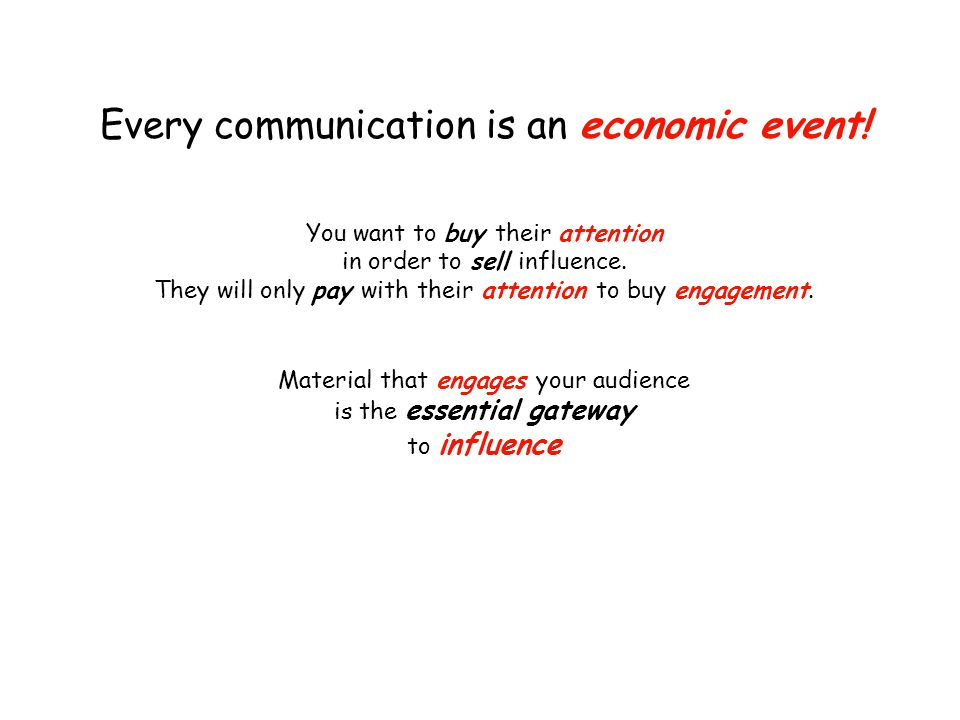 Every communication is an economic event.