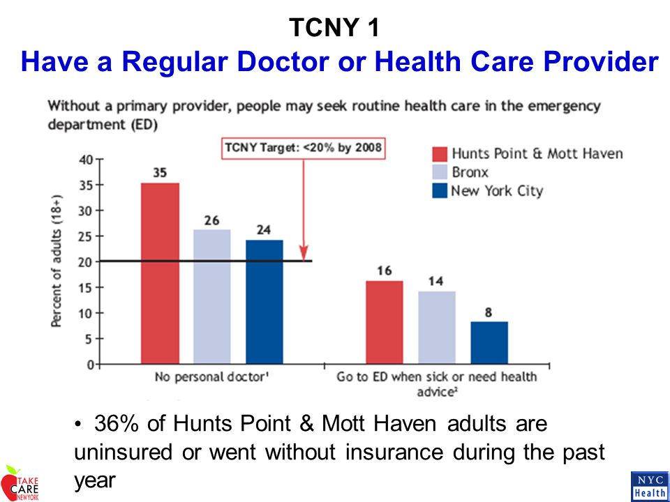 TCNY 1 Have a Regular Doctor or Health Care Provider 36% of Hunts Point & Mott Haven adults are uninsured or went without insurance during the past ye
