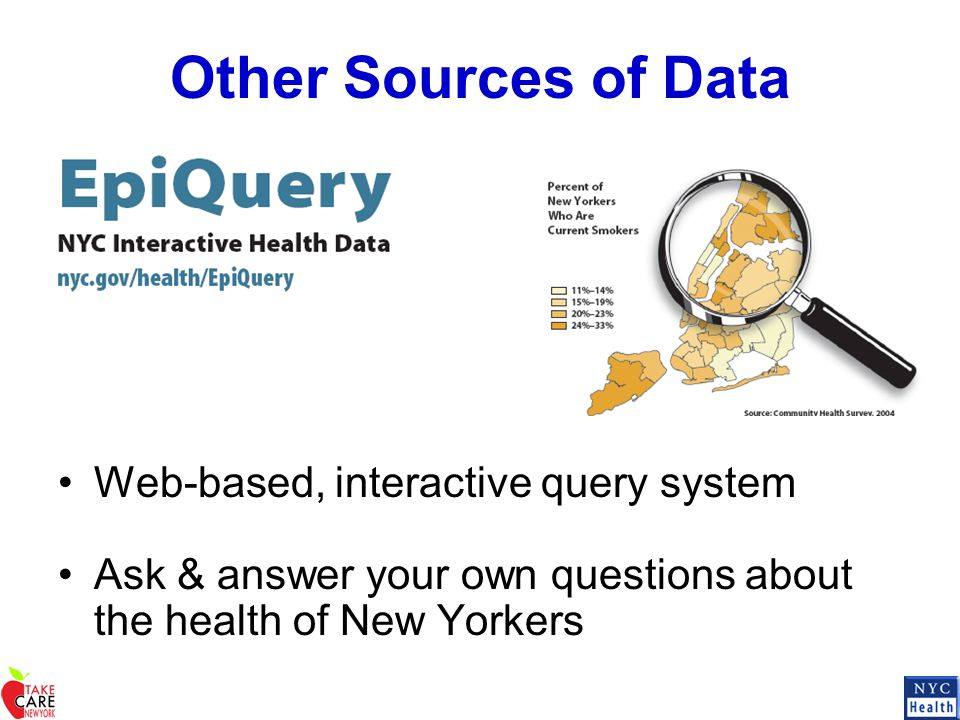 Other Sources of Data Web-based, interactive query system Ask & answer your own questions about the health of New Yorkers