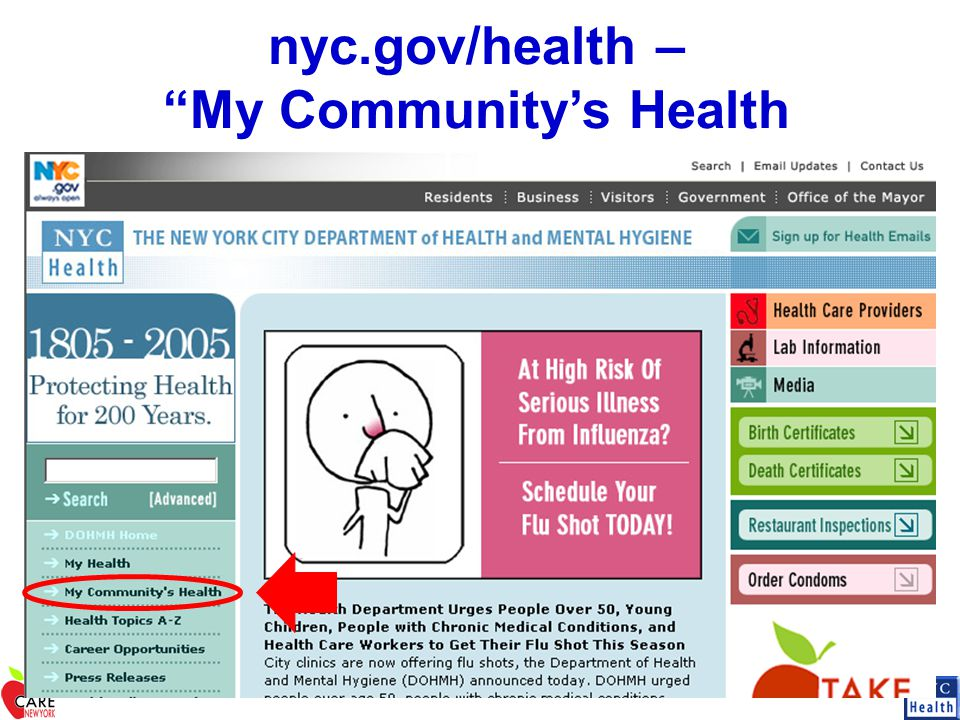 "nyc.gov/health – ""My Community's Health"