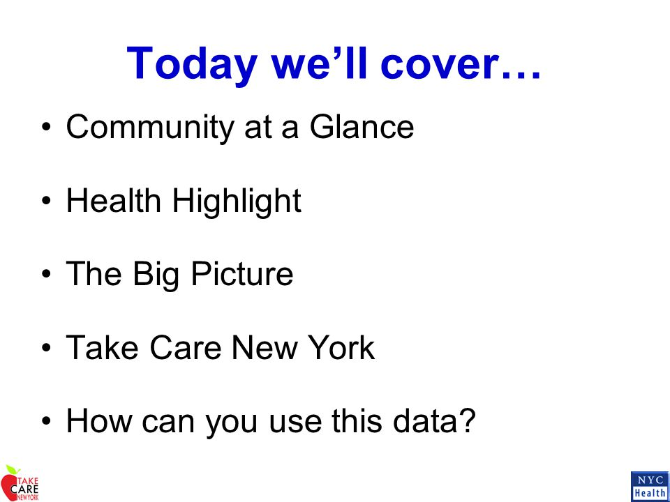 Today we'll cover… Community at a Glance Health Highlight The Big Picture Take Care New York How can you use this data?
