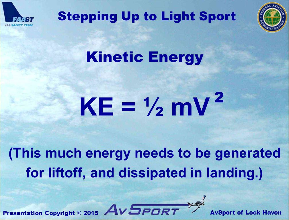 AvSport of Lock Haven Stepping Up to Light Sport Presentation Copyright © 2015 Kinetic Energy KE = ½ mV (This much energy needs to be generated for liftoff, and dissipated in landing.) 2
