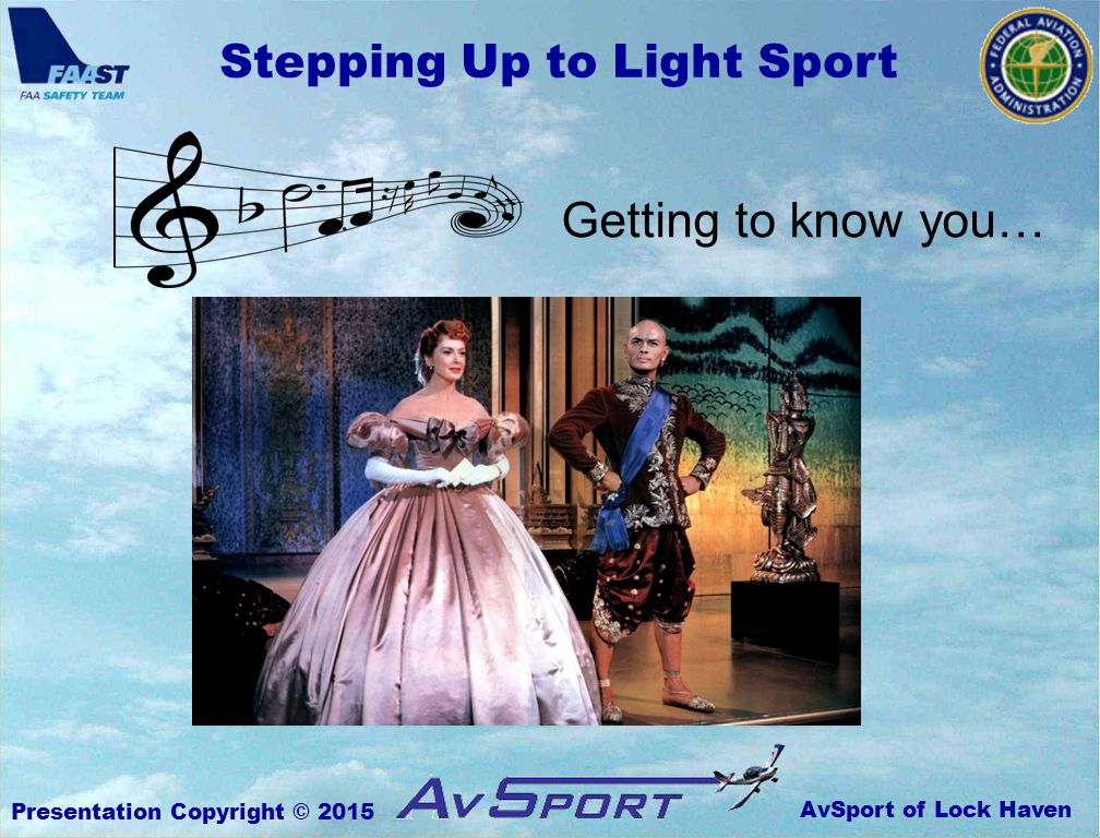 AvSport of Lock Haven Stepping Up to Light Sport Presentation Copyright © 2015 Wing Loading WL = weight / area (this is how the lifting force is distributed)