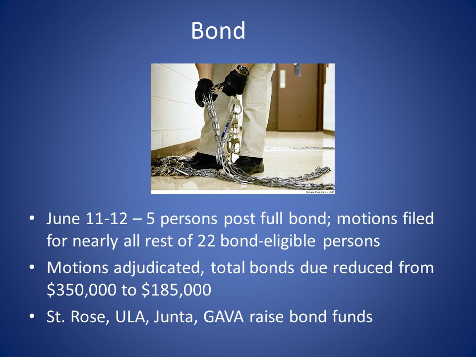 Bond June 11-12 – 5 persons post full bond; motions filed for nearly all rest of 22 bond-eligible persons Motions adjudicated, total bonds due reduced from $350,000 to $185,000 St.