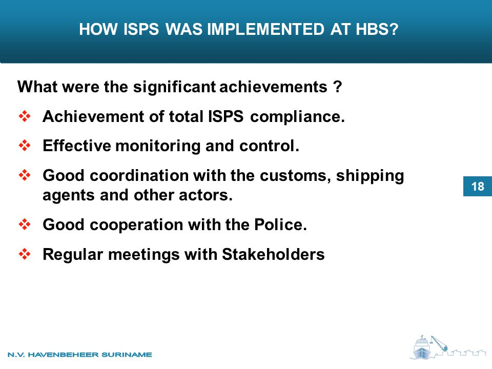 HOW ISPS WAS IMPLEMENTED AT HBS. What were the significant achievements .