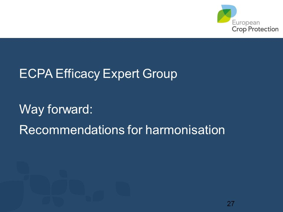 ECPA Efficacy Expert Group Way forward: Recommendations for harmonisation 27