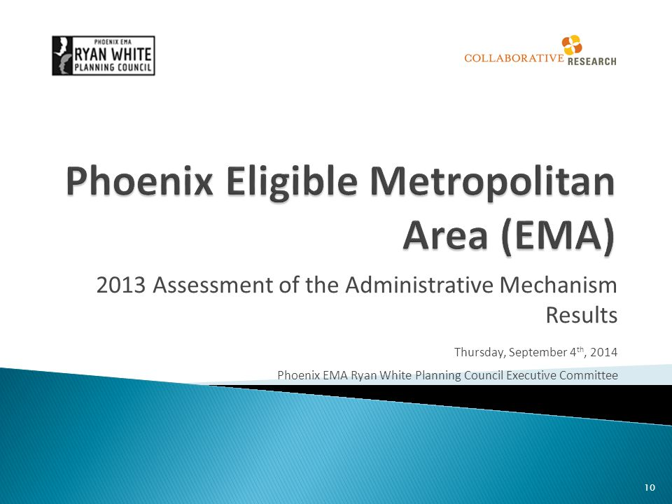 2013 Assessment of the Administrative Mechanism Results Thursday, September 4 th, 2014 Phoenix EMA Ryan White Planning Council Executive Committee 10