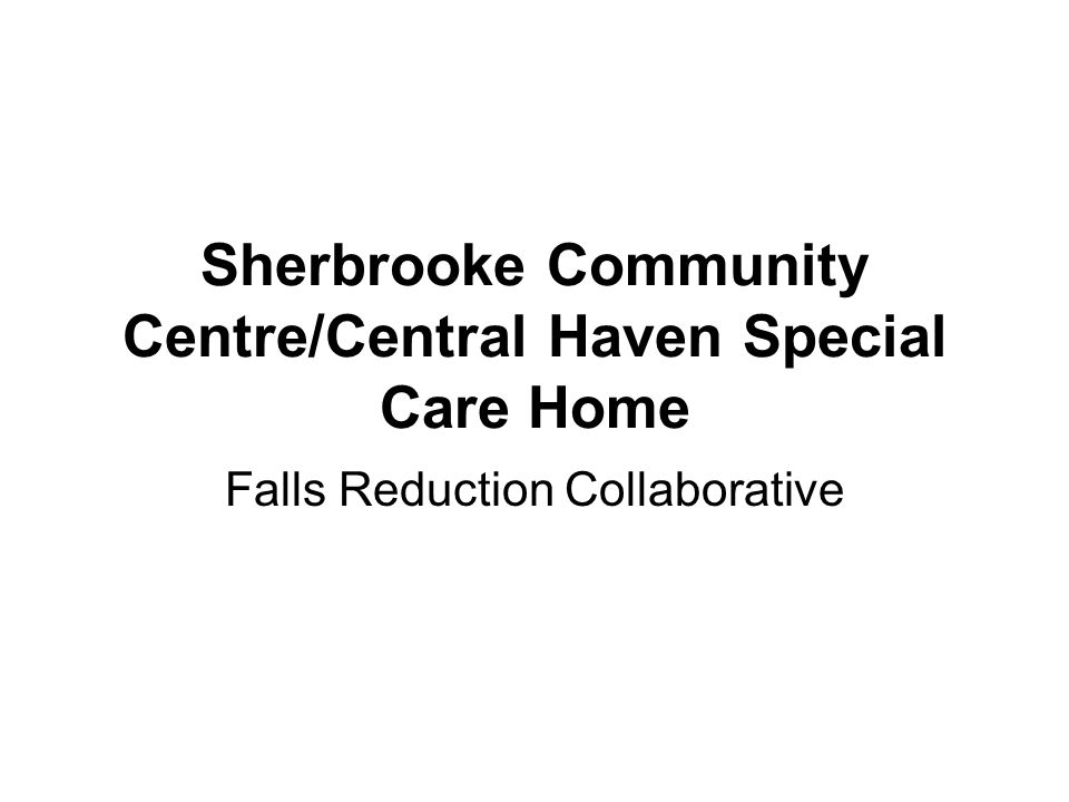 Sherbrooke Community Centre/Central Haven Special Care Home Falls Reduction Collaborative
