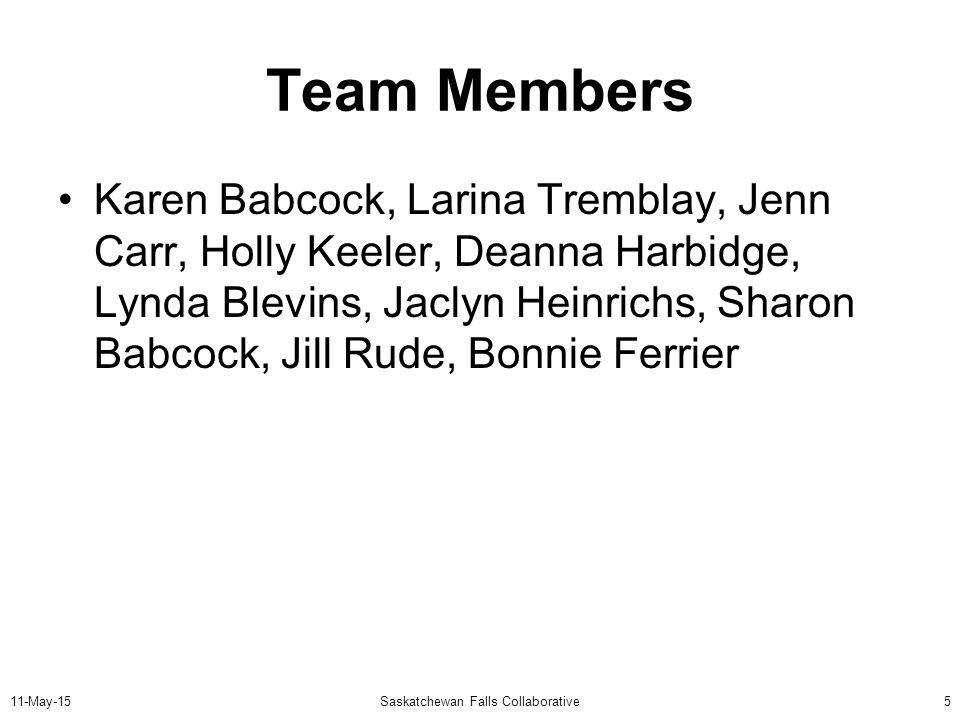 11-May-15Saskatchewan Falls Collaborative5 Team Members Karen Babcock, Larina Tremblay, Jenn Carr, Holly Keeler, Deanna Harbidge, Lynda Blevins, Jaclyn Heinrichs, Sharon Babcock, Jill Rude, Bonnie Ferrier